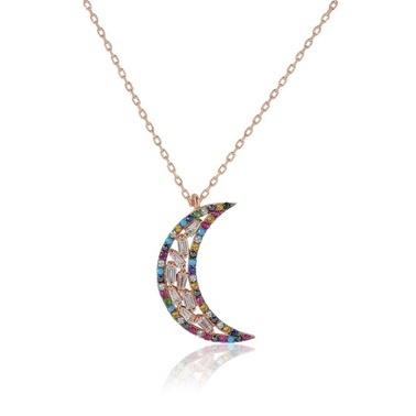 Söğütlü Silver Renkli Doğaltaşlı Ay Kolye Renkli